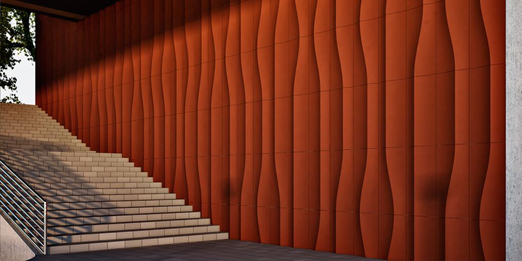 волнистые панели на здании